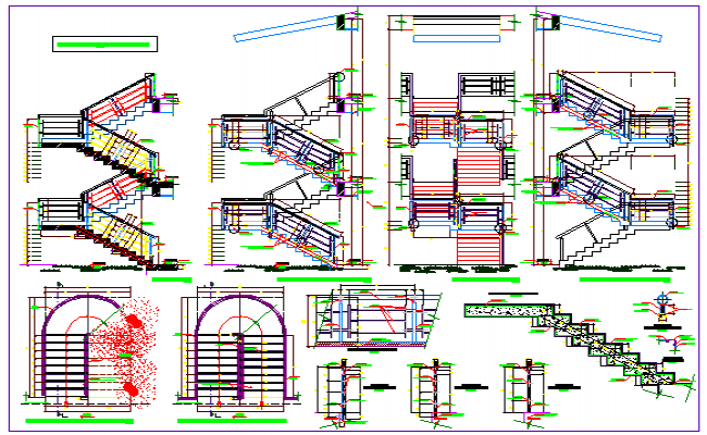 Various types of Stairs detail design drawing