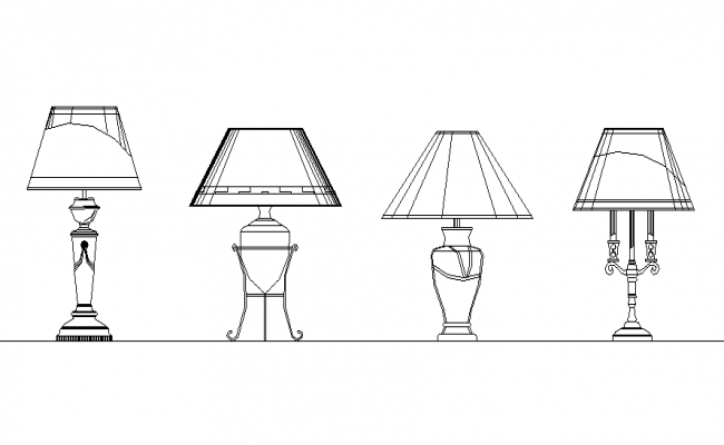 Various types of lamp details front view