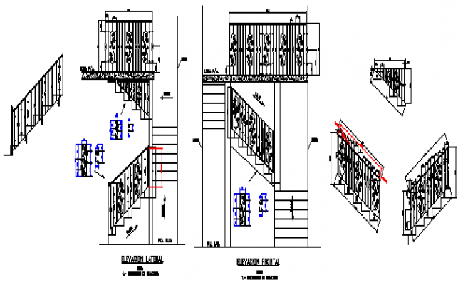 Various types of railings design drawing