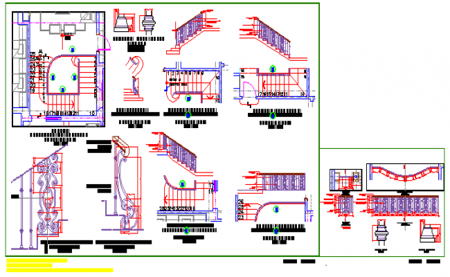 Various types of stair hand rail detail design drawing