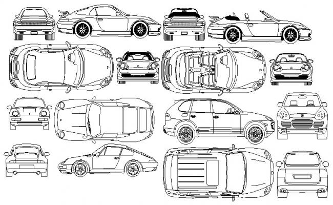 Vehicle design CAD blocks drawing dwg file