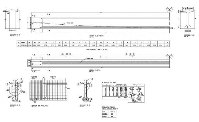 Vehicular bridge elevation, section, plan and constructive details dwg file