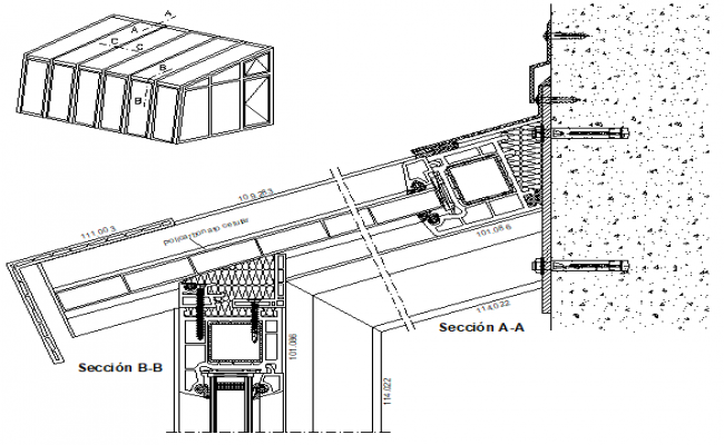 Veka system section detail dwg file