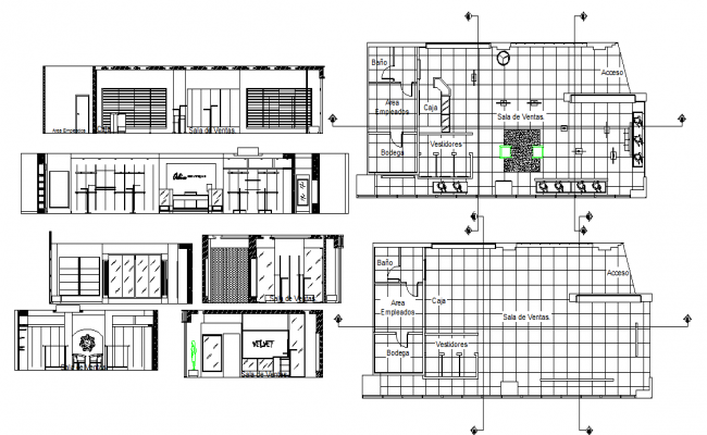 Velvet Boutique Plan & Elevation detail