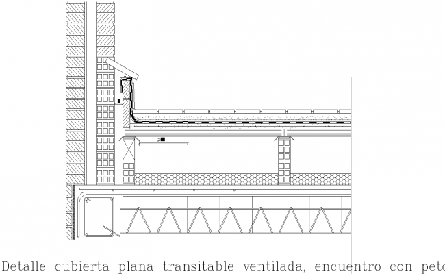 Ventilated flat roof structure plan detail dwg file.