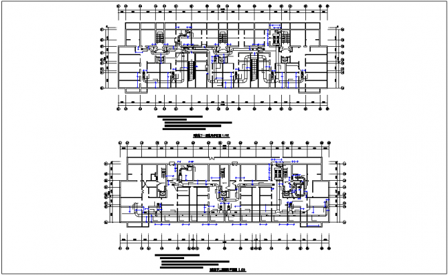 Ventilation pipe line section view dwg file
