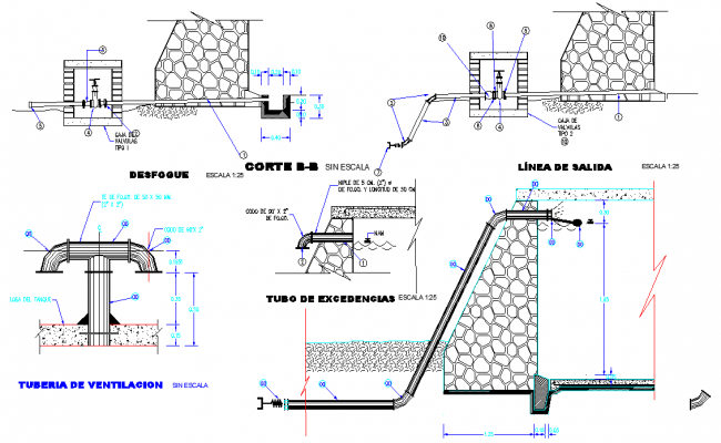 Ventilation pipe plan and section autocad file
