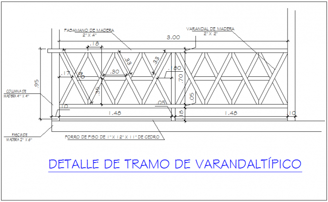 Veranda railing view dwg file