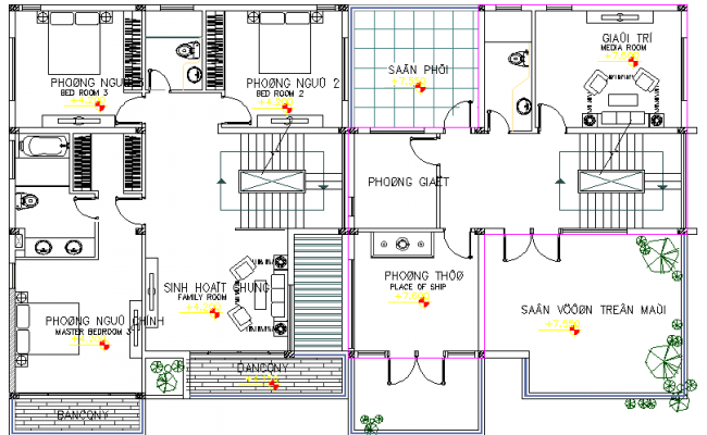 Villa Architecture Design and Layout dwg file