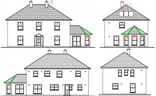 Villa Architecture Design and Main Elevation Details dwg file