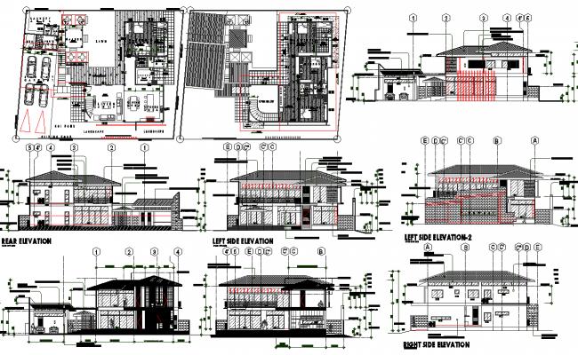 Villa Architecture Project Detail dwg file
