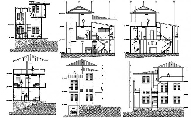 Villa Elevation and Section design AutoCAD drawing