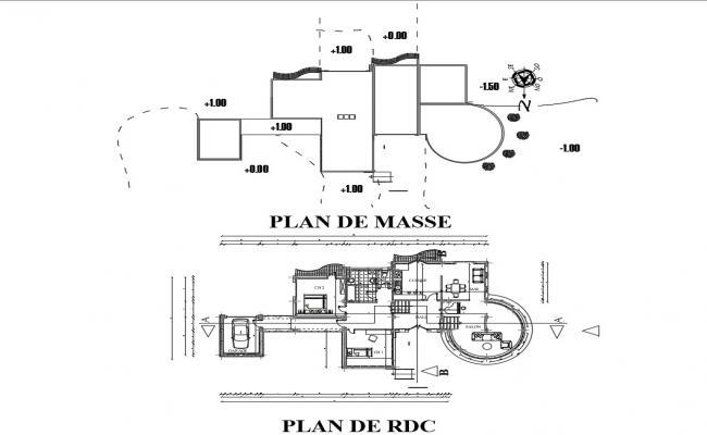 Villa House Design CAD Plan