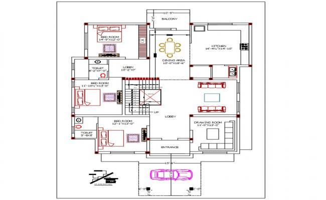 Villa House Gounod Floor Plan AutoCAD File