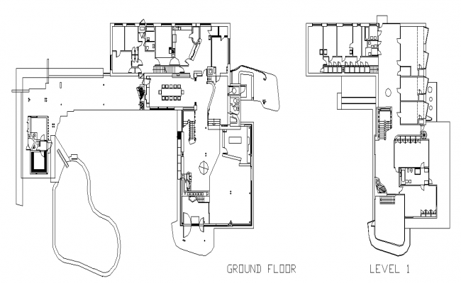 Villa architectural layout plan dwg file