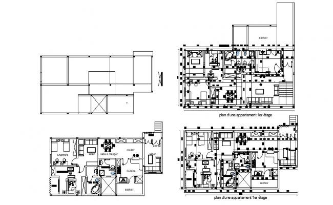 Villa plan 17.76mtr x 8.17mtr with detail dimension in AutoCAD