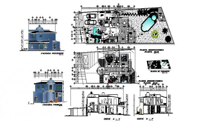 Villa plan design with detail dimension in autocad