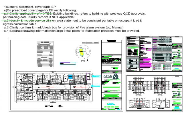 Villa plan detail dwg file