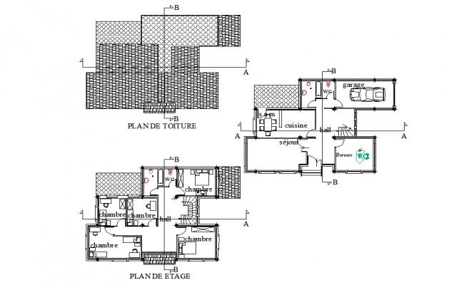 Villa planning plan dwg file