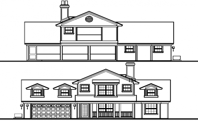 Front Elevation Autocad File : Villas elevation detail in autocad file