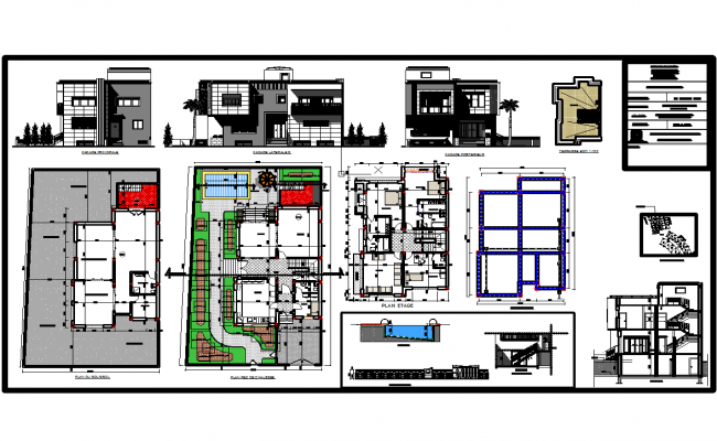 Villas architecture cad drawing and detail