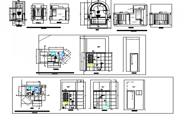 W.C and kitchen plan and elevation detail dwg file