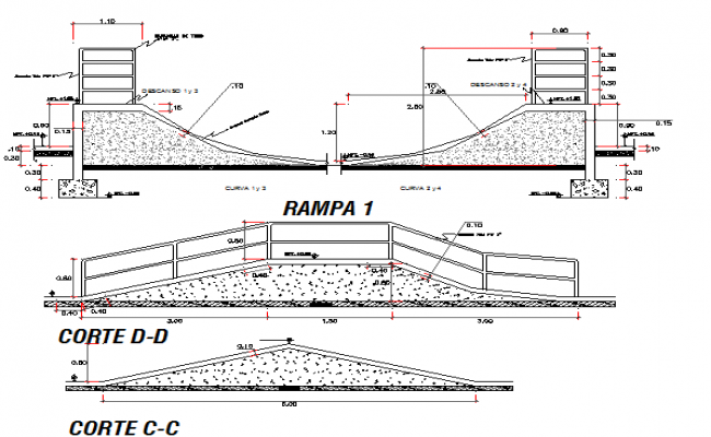 Walking ramp construction details of recreational park dwg file