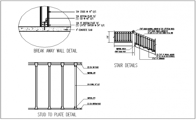 Wall, stair and plate section view detail dwg file