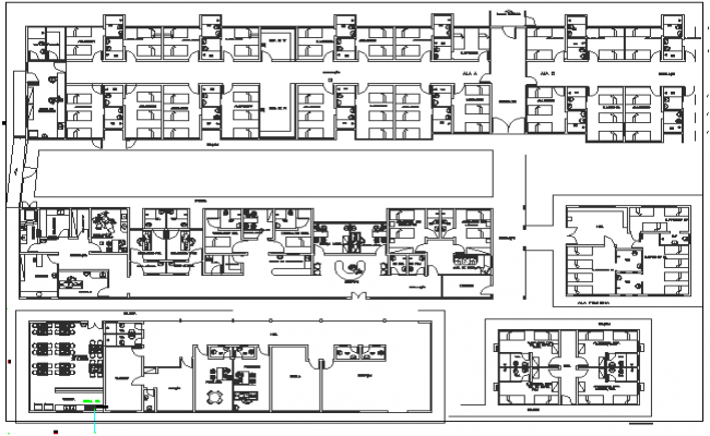 Wall Construction Details of Hospital Elevation dwg file