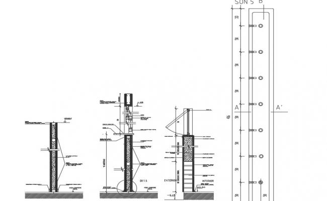 Wall Section and plan detail dwg file
