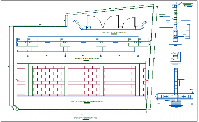 Wall and column foundation view of education center with construction detail dwg file