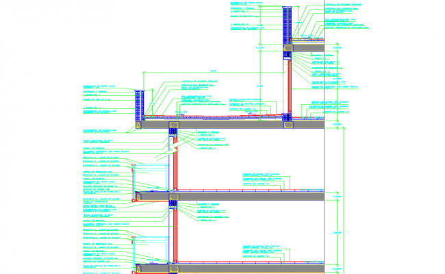 Wall column slab beam section view detail dwg file