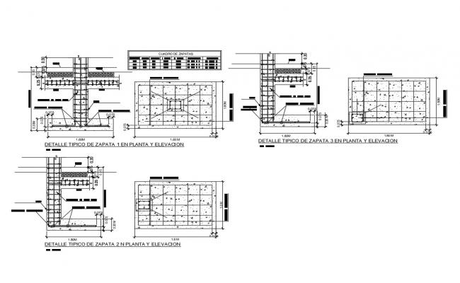 Wall construction and shoe footing details of building dwg file