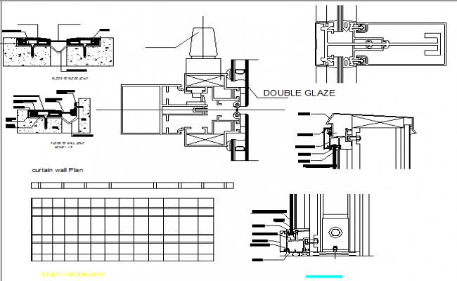 Wall construction details of corporate building dwg file