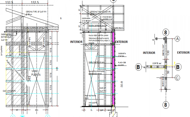 Wall construction details of one family house details dwg file