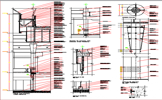 Wall construction with column and beam of shopping center dwg file