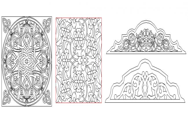 Wall design decorative blocks design dwg file