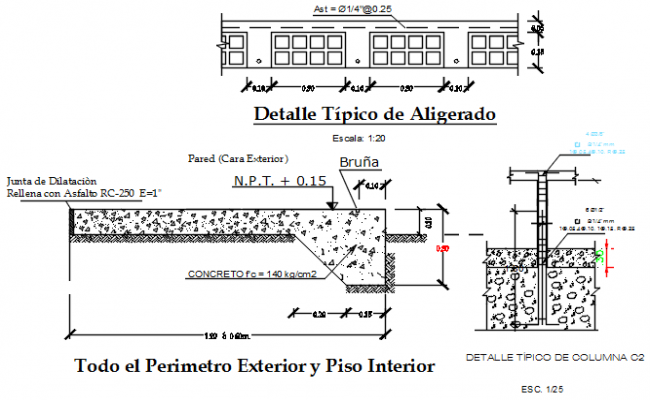 Wall elevation and section working plan detail dwg file