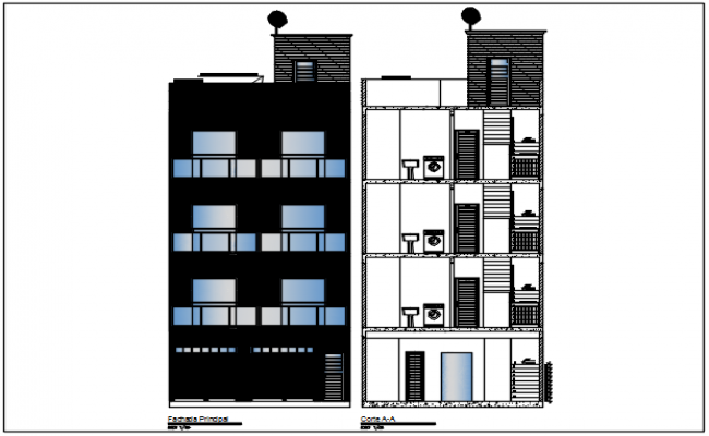 Wall elevation detail dwg file