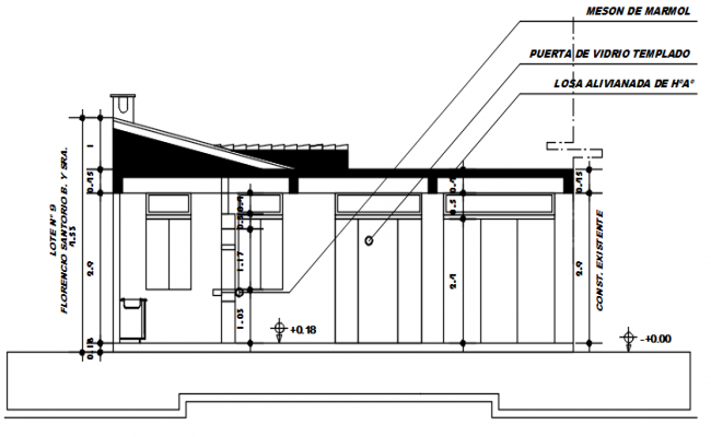 Wall elevation view of garden area detail dwg file