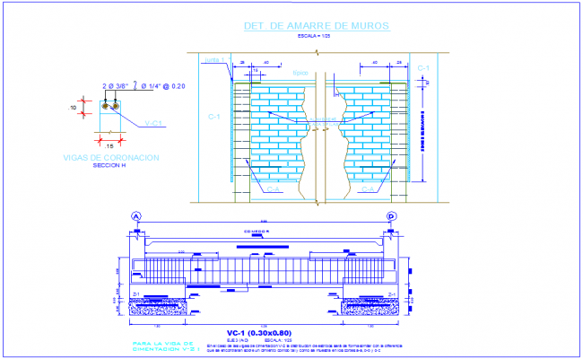 Wall elevation with view of detail with construction view dwg file
