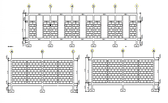 Wall elevation working plan detail dwg file