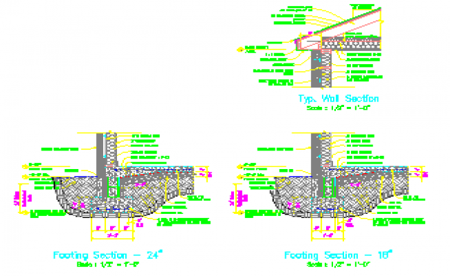 Wall footing foundation details drawing