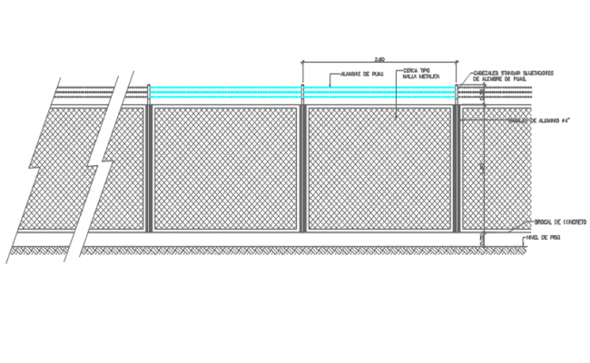 Wall gate elevation detail dwg file
