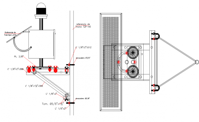 Wall joint machine detail autocad file