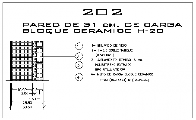 Wall of blocks hole ceramic in 31cm thickness design drawing