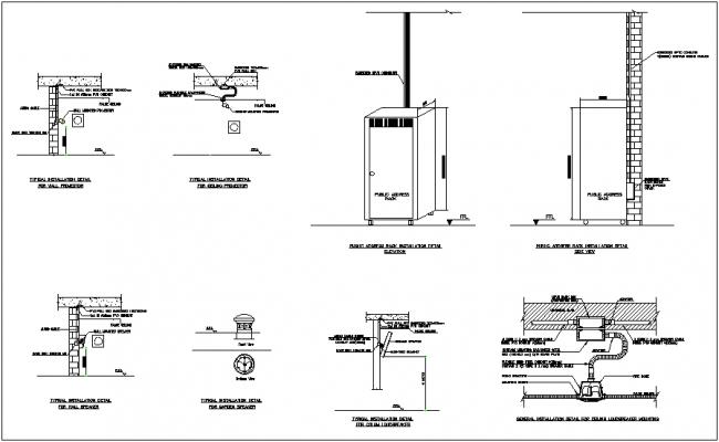 Wall projector,wall speaker & ceiling loud speaker installation view dwg file