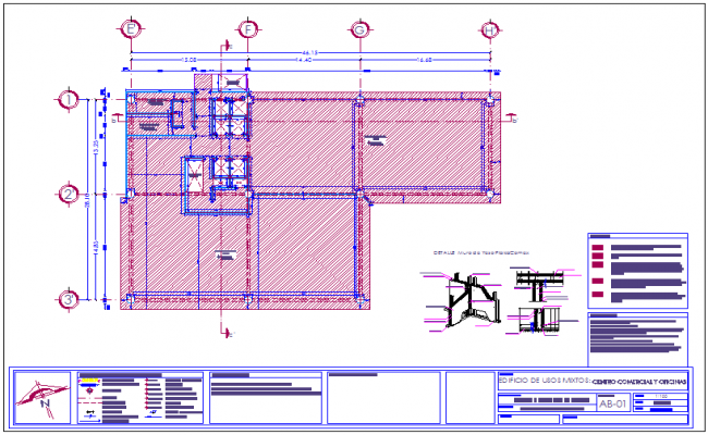 Wall section-1 construction detail for office and shopping center dwg file