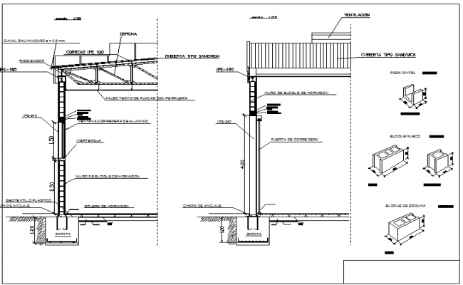 Wall section Industrial plant project detail dwg file