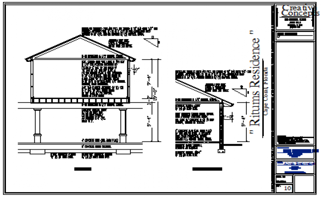 Wall section design drawing of Bungalow design drawing